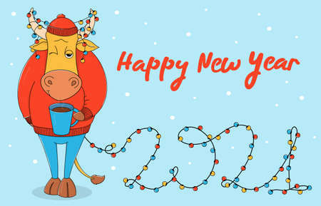 A cute bull in a red sweater and hat with a Cup of coffee. Cartoon character on a blue background with a Christmas garland in horns and the number 2021. Colorful vector illustration. Christmas card.