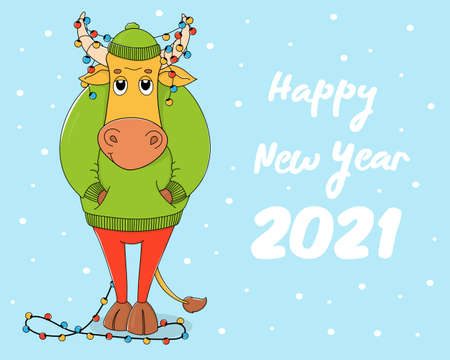 Cute bull in a green sweater and hat. Cartoon character on a blue background with a Christmas garland in horns. Colorful vector illustration. Happy New Year 2021.