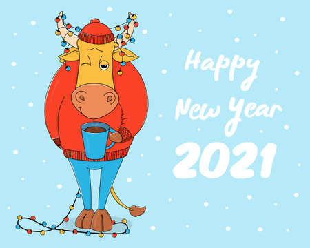 Cute bull in a red sweater and hat with a Cup of hot coffee. Cartoon character on a blue background with a Christmas garland in horns. Colorful vector illustration. Happy New Year 2021.