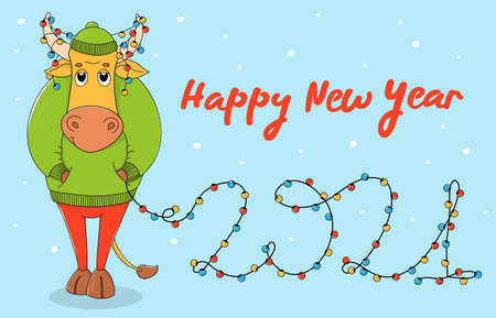 Cute bull in a green sweater and hat. Cartoon character on a blue background with a Christmas garland in horns and the number 2021. Colorful vector illustration. Christmas card. Ilustração