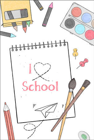 Poster on the theme of education. School supplies and space for your text on a white background. Colorful vector illustration in sketch style. Hand-drawn. Template. Imagens