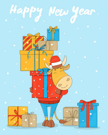 Cute bull in a Santa hat on a blue background with a bunch of gift boxes. Colorful vector illustration. Merry Christmas.