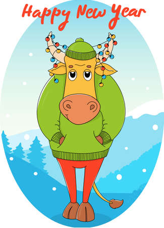 Cute bull in a green sweater and hat. Cartoon character on the background of a winter landscape with a Christmas garland in horns. Colorful vector illustration. Happy New Year 2021. Ilustração