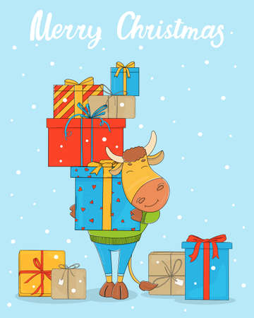 Cute bull on a blue background with a bunch of gift boxes. Colorful vector illustration. Merry Christmas.