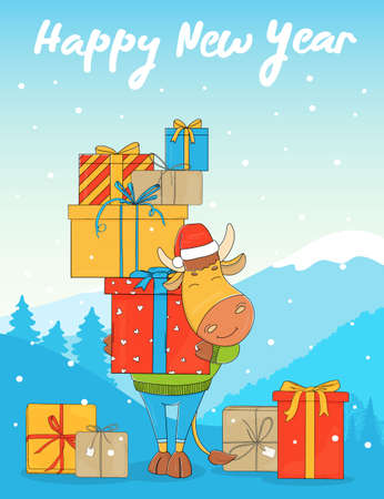 Cute bull in a Santa hat. Cartoon character on the background of a winter landscape with a bunch of gift boxes. Colorful vector illustration. Happy New Year 2021.