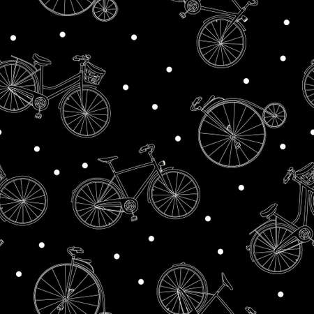Seamless pattern with different bikes. Monochrome vector illustration in sketch style. White outline on a black background. Hand-drawn.