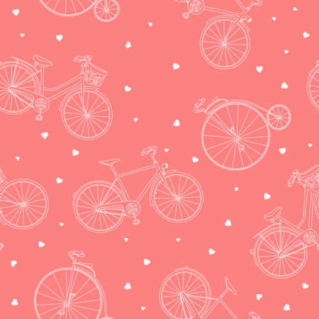 Seamless pattern with different bikes and hearts. Vector illustration in sketch style. White outline on a pink background. Hand-drawn.