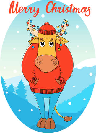 Cute bull in a red sweater and Christmas garlands in his horns. Cartoon character on the background of a winter landscape. Colorful vector illustration. Christmas card. 向量圖像