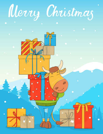 Cute bull on the background of a winter landscape with a bunch of gift boxes. Colorful vector illustration. Happy New Year 2021. Christmas card.