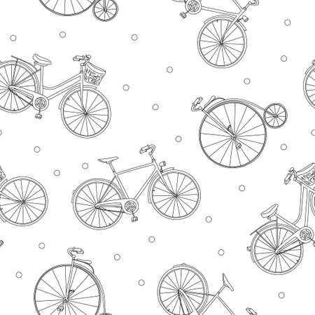 Seamless pattern with different bikes. Monochrome vector illustration in sketch style. Black outline on a white background. Hand-drawn.