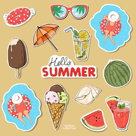 Set of stickers on a summer theme. Hello summer. Colorful vector illustration in sketch style. Hand-drawn.