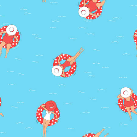 Seamless pattern with women in swimsuits and hats in a pool with an inflatable swimming circle. The view from the top. Summer vacation on the coast. Colorful vector illustration. 向量圖像