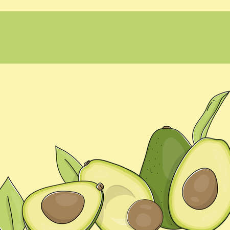 Poster with the avocado. Colorful vector illustration in sketch style. Healthy diet template to place text. Whole fruit and half cut avocado. Template. Mock up. 向量圖像