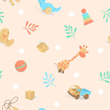 Seamless pattern with childrens toys. Colorful vector illustrations.