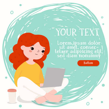 Girl is working on a laptop sitting on the floor with coffee. Space for your text. For online training, web page design, social media technologies, and advertising. Colorful vector illustration. 向量圖像