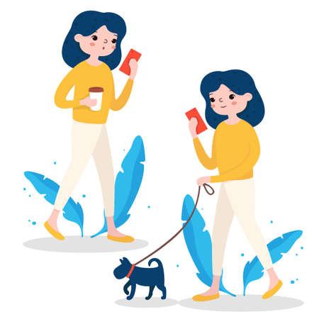 Girl walks with a dog, drinks coffee and looks at the phone. Colorful vector illustration on a white background. For a website, advertising.