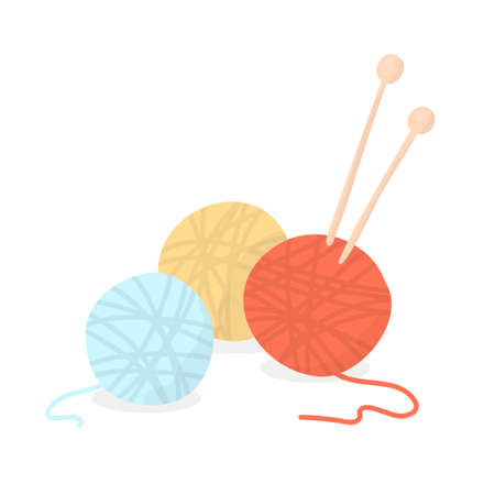 Balls of wool for knitting and knitting needles. Colorful vector illustration. Flat design.