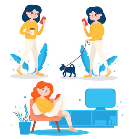 Set with a girl and a mobile phone. The girl walks the dog, drinks coffee and watches TV. Colorful vector illustration on a white background. For the site, advertising. 向量圖像