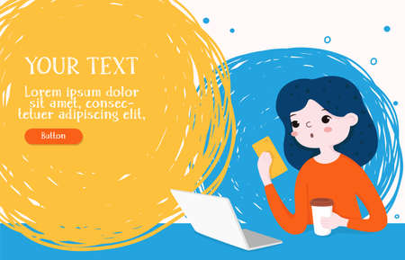 Girl works on a laptop and looks at the phone sitting at the Desk. Space for your text. For web page design, social media technologies, and advertising. Colorful vector illustration. Horizontally. 向量圖像