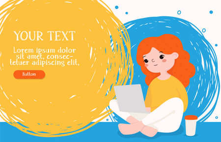 Girl is working on a laptop sitting on the floor with coffee. Space for your text. For web page design and advertising. Colorful vector illustration. Horizontally. 向量圖像
