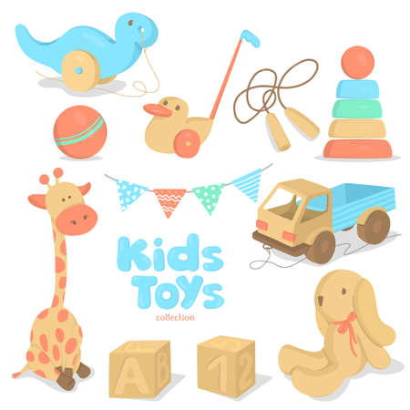 Set with childrens toys. Colorful vector illustrations.