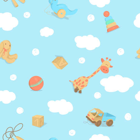 Seamless pattern with childrens toys with clouds on  blue 向量圖像