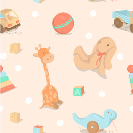 Seamless pattern with childrens toys with clouds on a beige background. Colorful vector illustrations.