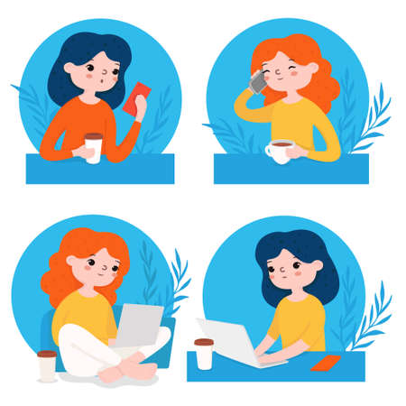 Set with girls working on a laptop and with a phone. Flat design. For online learning, web page design, social media technologies, and advertising. Colorful vector illustration. 向量圖像