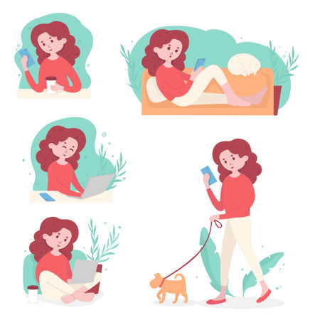 Set with girls working on a laptop and with a phone. The girl is at home and walks with her dog and phone. Flat design. For online training, website and advertising. Colorful vector illustration.