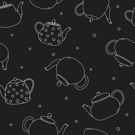 Seamless pattern with teapots. White outline on a black background. Vector illustration.