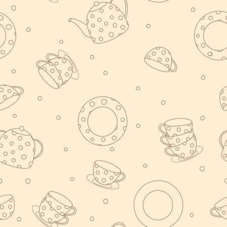 Seamless pattern with tea set. Teapot, cups and saucers with polka dots. Black outline on a beige background. Vector illustration.