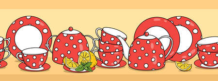 Border with tea set and lemon. Red teapot, cups and saucers with white polka dots. Vector illustration on a white background. Horizontally. Seamless. 向量圖像