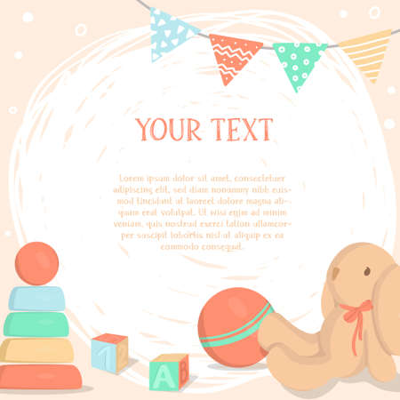 Poster with childrens toys and space for your text. Colorful vector illustrations. Template.