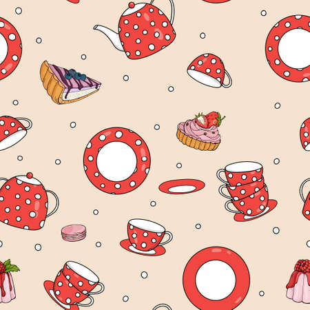 Seamless pattern with tea set and sweet pastries. Red teapot, cups and saucers with white polka dots. Vector illustration on a beige background. 向量圖像