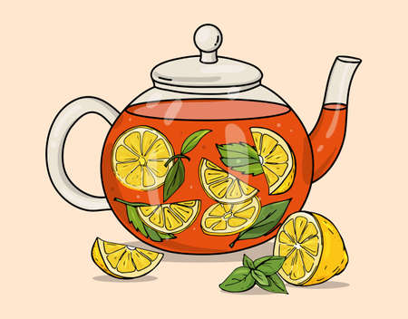 Glass tea pot with lemon and mint. Colorful vector illustration on a beige background. Hand-drawn.