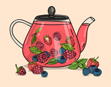 Glass teapot with berry tea. Hot berry drink and raspberries, blueberries and strawberries. Colorful vector illustration on a beige background. Hand-drawn. 向量圖像