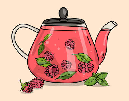 Glass teapot with berry tea. Hot berry drink with raspberries. Colorful vector illustration on a beige background. Hand-drawn.