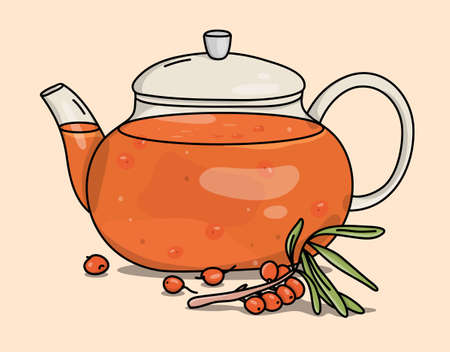 Glass teapot with berry tea. Hot berry drink with sea buckthorn. Colorful vector illustration on a beige background. Hand-drawn.