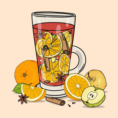 Glass mug with mulled wine. A warming hot alcoholic or non-alcoholic drink with fruit and spices. Colorful vector illustration on a beige background. Hand-drawn.