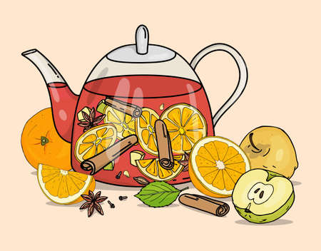 Glass teapot with mulled wine. A warming winter hot alcoholic or non-alcoholic drink with fruit and spices. Colorful vector illustration on a beige background. Hand-drawn.