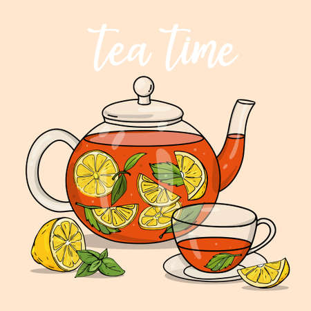 Glass teapot and a Cup of lemon and mint. Colorful vector illustration on a beige background. Hand-drawn.