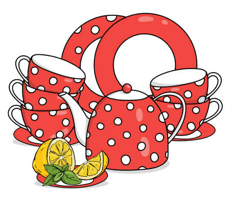 Tea set with lemon. Red teapot, cups and saucers with white polka dots. Vector illustration on a white background. Hand-drawn.