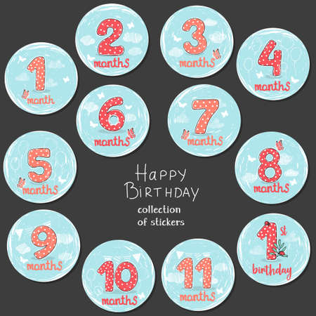 Set of stickers with numbers from 1 month to 1 year. Holiday set for a party, birthday. Red hand-drawn numbers with white polka dots. Vector illustration in sketch style.