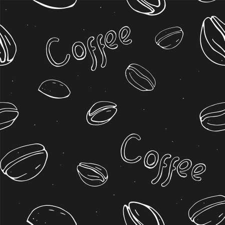 Seamless pattern with coffee beans. White outline on a black background. Vector illustration in sketch style. Hand-drawn.