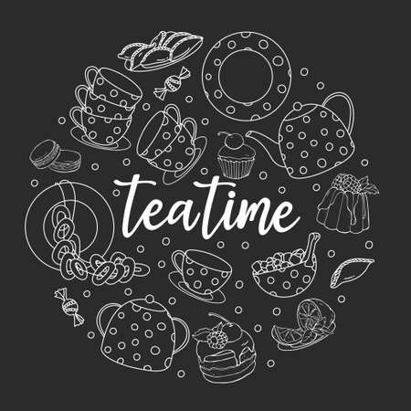 Tea set and the words Tea time are arranged in the shape of a circle. White outline on a black background. Vector illustration on a white background. Hand-drawn. 向量圖像