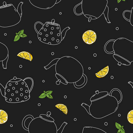 Seamless pattern with teapots and lemons. Different types of teapots and lemon slices. White outline on a black background. Vector illustration. 向量圖像
