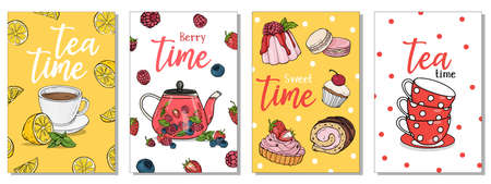 Set of postcards on the tea theme. Tea cups, a teapot with berry tea and sweets. Tea Time. Colorful vector illustration. Hand-drawn. 向量圖像