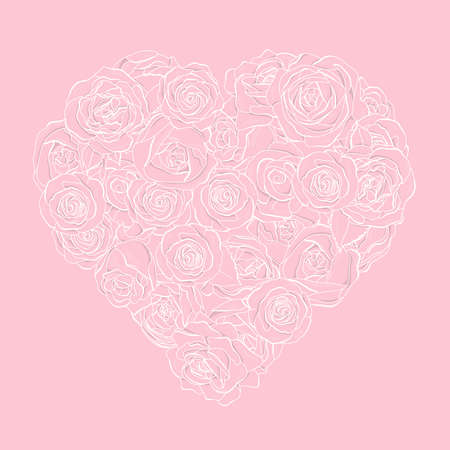 Heart-shaped rose flowers. White outline on a pink background. Vector illustration in the style of the sketch. Romance. Valentines day.
