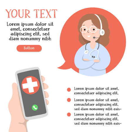 Hand with a smartphone, a call center operator and a place for your text. Video chat with the doctor. Online consultation with a medical specialist. Colorful vector illustration in a flat design. 向量圖像