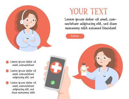 Hand with smartphone, call center operator, doctor and place for your text. Online consultation with a medical specialist. Colorful vector illustration in a flat design. Template. Horizontally. 向量圖像